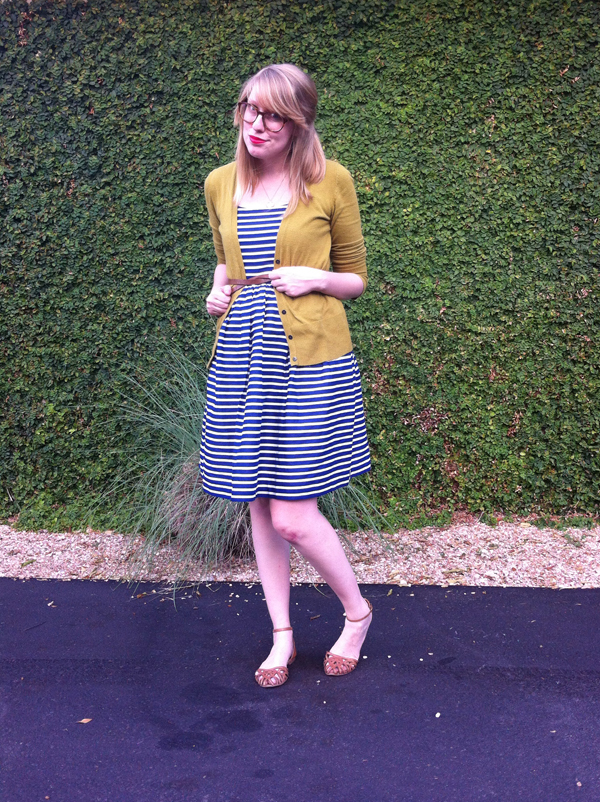 j.crew factory navy striped dress