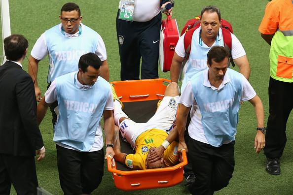 Neymar Being Stretchered Off