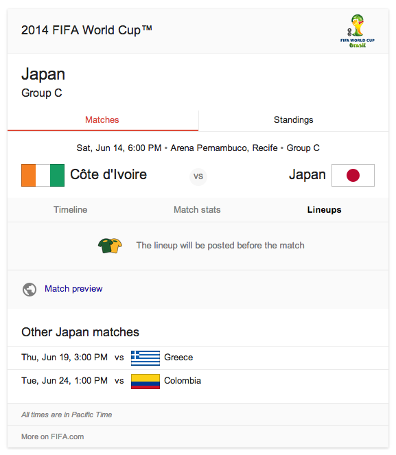 2014 FIFA World Cup Japan matches