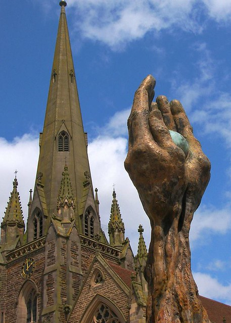 Prayer hands and church, by Parmjit Flora