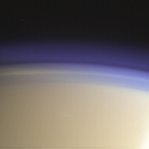 Titan's upper haze (with a star!) - 18 June 2014 T-102 N00225375-78 (red grn bl vio)