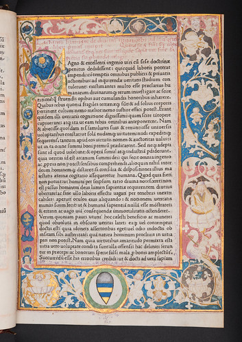 Illuminated decorated page with coat of arms in Lactantius, Lucius Coelius Firmianus: Opera
