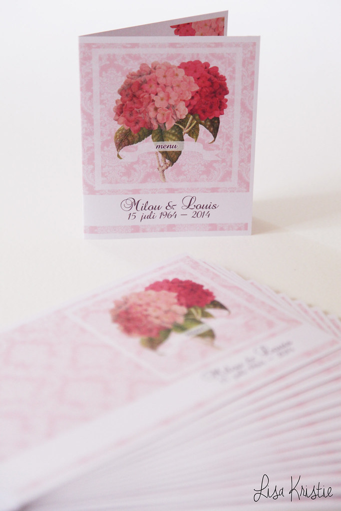 handmade diy cards menu celebration party name tags pink damask background hydrangea flowers theme 50th wedding anniversary fiftieth craft paper