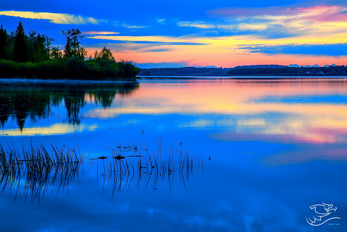 blue trees sunset canada landscape lakes alberta refection lakeisle drewmayphotography