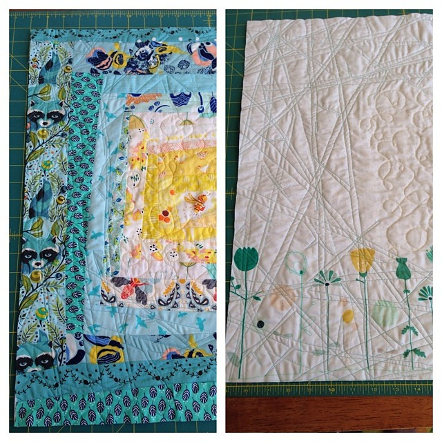 "Quilted and trimmed to 22"". Wow, partner, I'm going to have a very hard time letting this go. I hope you love it. Now to put it aside for a few days and finish something else pressing. #schnitzelandboominiquiltswap #makeaquiltmakeafriend"