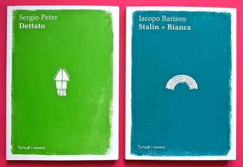 Romanzi, collana di Tunué edizioni. Progetto grafico di Tomomot; impaginazione di TunuéLab. Copertine [Peter, Barison] (part.), 1