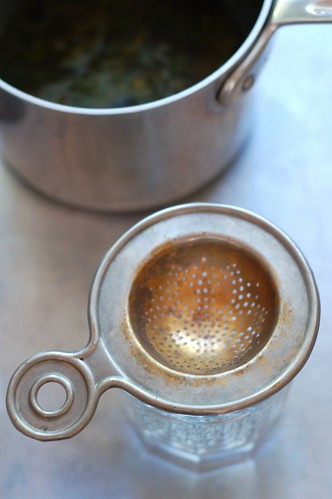 Strainer for the Lemon Balm Simple Syrup by Eve Fox, the Garden of Eating blog, copyright 2014