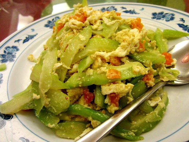 Fried bitter gourd with salted egg