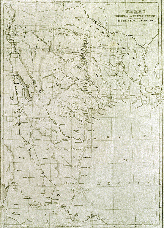 """Texas and Part of Mexico and the United States Showing the Route of the First Santa Fe Expedition,"" by William Kemble, printed in Kendall's <i>Narrative of the Texan Santa Fe Expedition</i>, 1844"