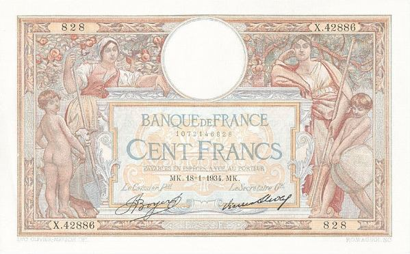 100 Frankov Francúzsko 1934-35, Pick 78c