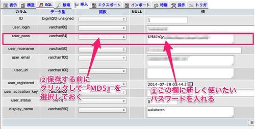 パスワードの変更は編集をクリックしてこのページで