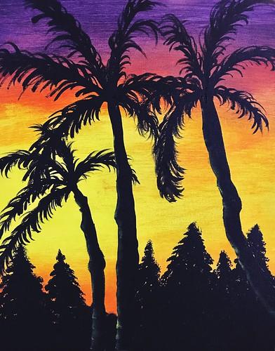 twilight silhouette tree palm beach sunset painting acrylic