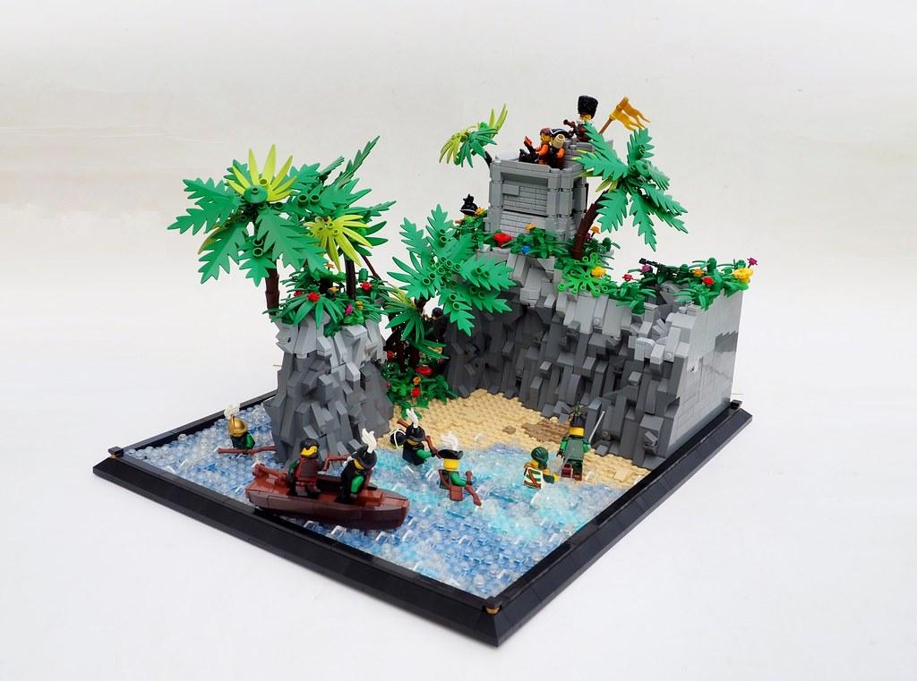 The Fall of the Mardierian Fort on Isla de la Many Names (custom built Lego model)