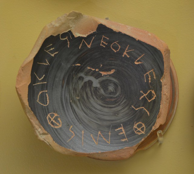 Ostraka for Ostracism, 5th century BC, Museum of the Ancient Agora, Athens, Greece