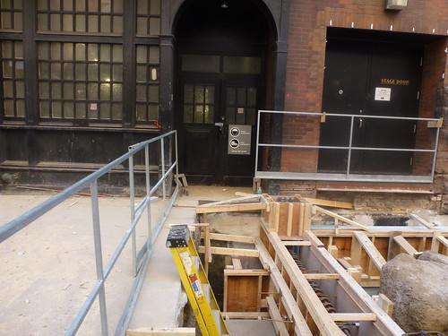 Construction on the sidewalk on the east facade of Massey Hall, 2014 04 17 (1)