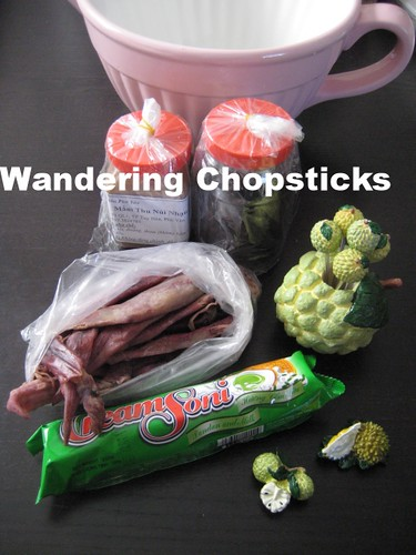 Vietnam Souvenirs - Tuna Sauce, Dried Squid, Pandan Cookies, Cherimoya Fruit Picks and Magnet, and Durian Magnet