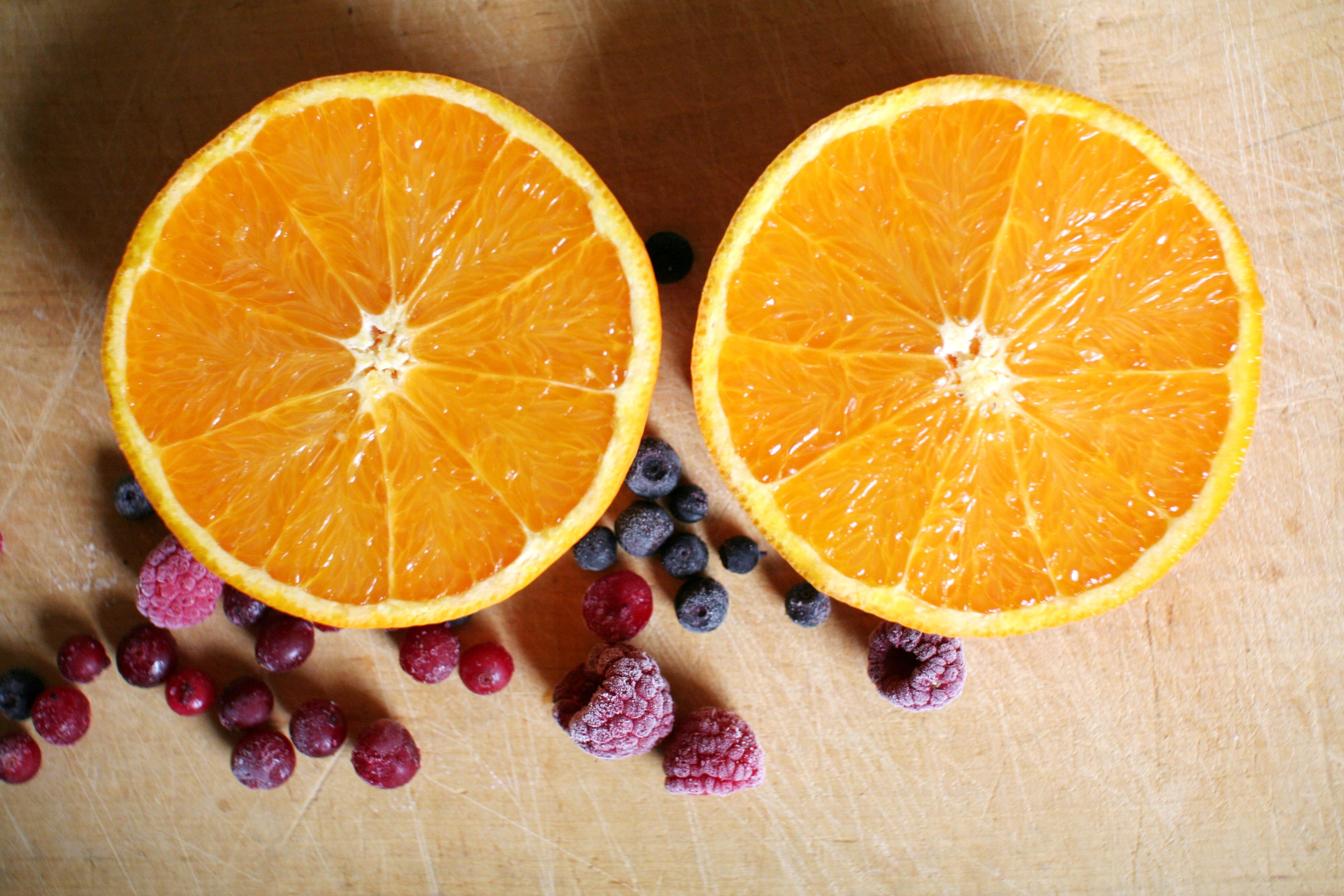 smoothie, tranbär, apelsin, hallon, blåbär