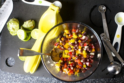 bell peppers, black beans, jalapeno, white onion