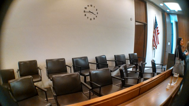 jury booth in a court room