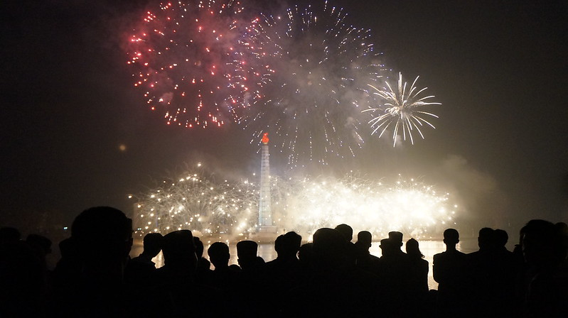 Fireworks above Juche Tower during Kim Il Sung Birthday Celebrations April 15, 2014