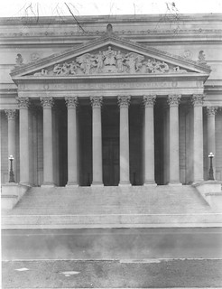 Photograph of the National Archives Building Constitution Avenue Entrance Portico and Pediment , 12/22/1935