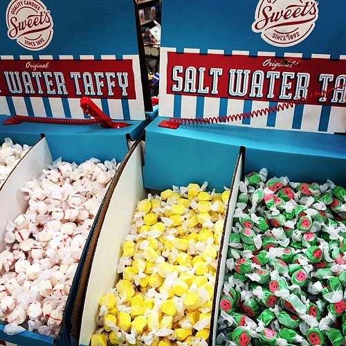 #saltwatertaffy is my #summer #weakness. This little booth is set up at the grocery store. I buy three pieces and that lasts the whole week. My fav is #banana. Everything in moderation. #moderation #fitfluential