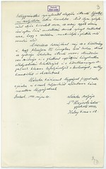 VI/3. Dr. Bajor Sándor zsidó orvos, hivatkozva édesapja 1919-ben Szamuelyék által történt kivégeztetéséért járó mentességére, kérelmezi nyolc hónapos terhes felesége mentesítését a gettóba vonulás alól.  mnljnszml6_2b