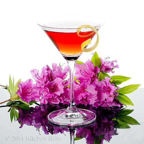 Dubonnet Cocktail in cocktail glass with lemon slice garnish, on black acrylic with flowers in background