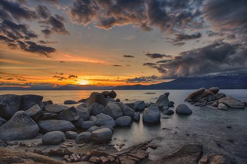sunset water colors clouds rocks nevada laketahoe clear shore sandharbor bigstopper