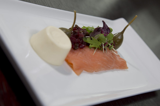 Smoked salmon, horseradish panna cotta, beetroot salad, caper berries ...