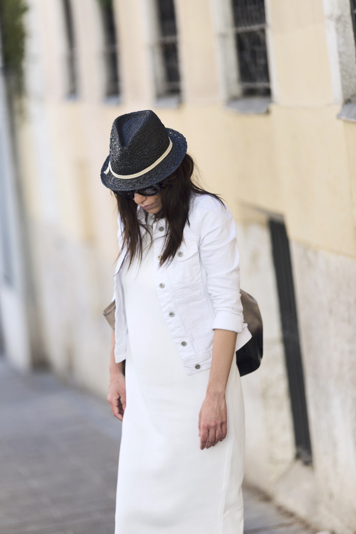 street style barbara crespo white tank dress zara fashion blogger outfit blog de moda