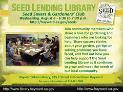 Hayward Library Seed Savers and Gardeners' Club Meeting - August 6, 6:30 to 7:30 p.m.