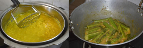 cooked dal and drumstick