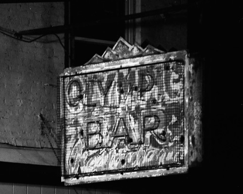 Olympic Bar sign at night, Albany, N.Y.