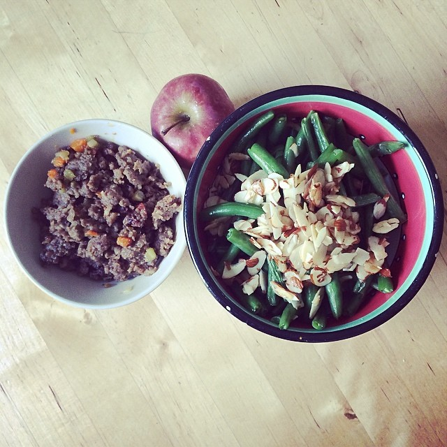 Day 3, #Whole30 - lunch (green beans & almonds sautéed in ghee, ground pork with carrots, broccoli stalk, onion, & garlic, and the world's smallest apple)