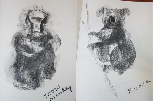 Side charcoal - monkey and koala