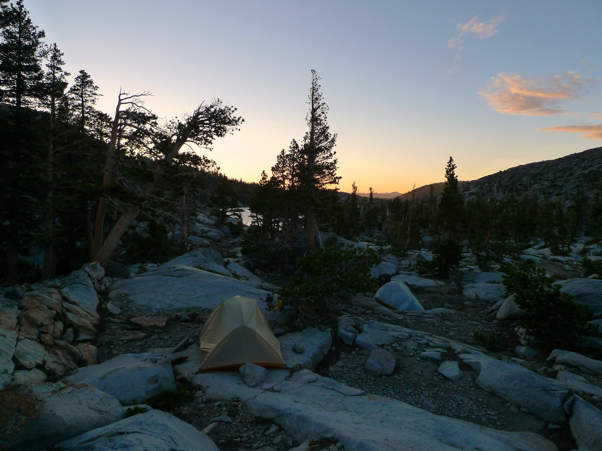 Sunset at Camp 2 between Dick's and Fontanillis Lake