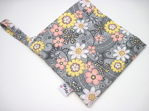 Pink, White and Yellow Floral on Gray Wet/Dry Bag