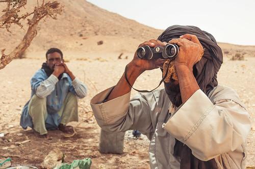 Tuareg Men Using Binoculars in the Sahara