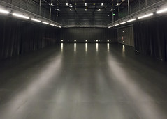 A black box theatre is a square performance space with black walls and a flat floor, which allows for flexibility in the ways the area is used for performances.