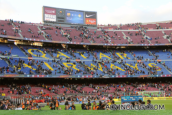 Spectators emptying the stadium