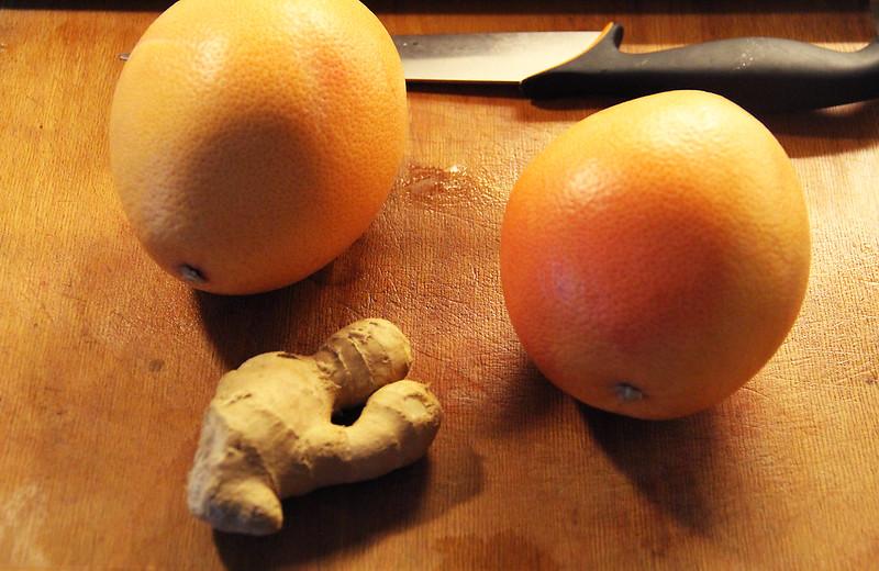 grapefrukt- och ingefärsjuice!