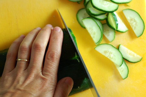 Slicing the cucumbers by Eve Fox, The Garden of Eating, copyright 2014