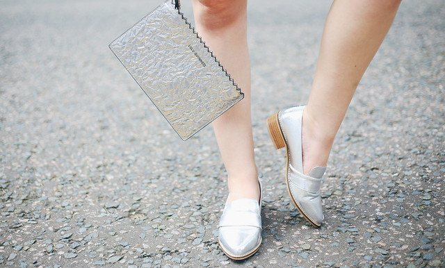 Next Silver Loafers Lulu Guinness Silver Clutch