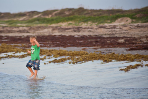 Toddler Playing in Waves at Padre Island National Seashore