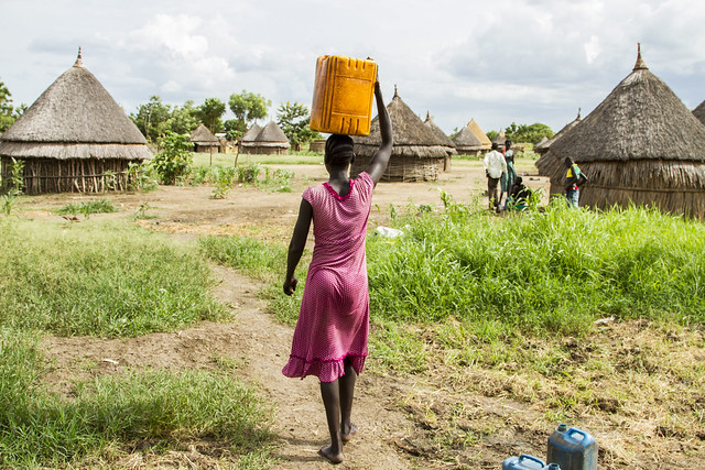 At Dobrar village, Nyarout Jok, a mother of four, uses the UNICEF water pump twice a day.