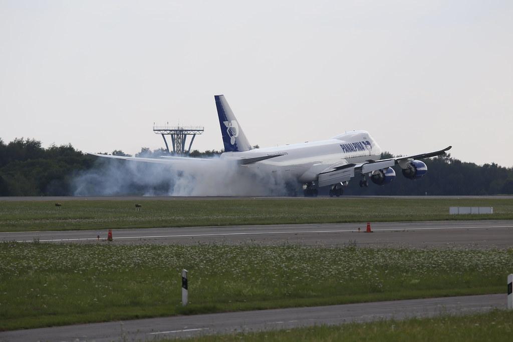 Smokey Panalpina Boeing 747-8 landing in LUX