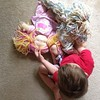 How I found him when the house was a little too quiet for my liking this morning. Playing with my girls Lolly and Kendall. #waldorfdolls