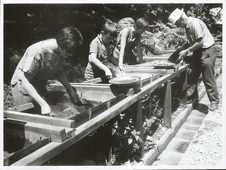 Tourists Gold Panning at Rutherglen Gold Claim near Greymouth