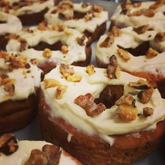 Jake's donut of the day - carrot cake! With cream cheese frosting and candied walnuts!